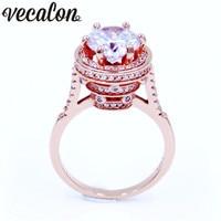 Vecalon Vintage Women ring Round cut 4ct 5A Zircon Cz Rose Gold Filled 5 layer Engagement wedding ring for women men Gift