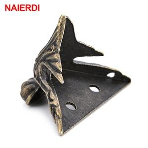 Image 2 - 4PCS NAIERDI 40x30mm Antique Wood Box Feet Leg Corner Protector Triangle Rattan Carved Decorative Bracket For Furniture Hardware