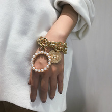 KingDeng Big Glod bracelet  Exaggerated crab geometry hollowed out women Punk multi-layer imitation pearl temperament jewelry