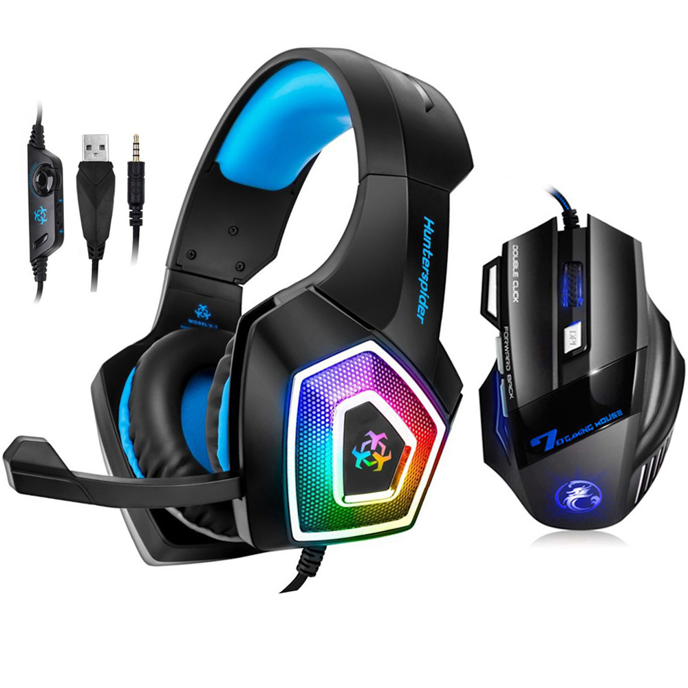 Hunterspider V1 Gaming Headset Stereo Heaphone With Mic 7 LED Light for Xbox One PS4 PC+7 Buttons 5500DPI Gaming Mouse Game Mice