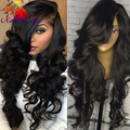 Synthetic Wigs for Black Women African American Wigs Female Long Curly Hair wig Beyonce's Lace Front Wig with Bangs Free Ship