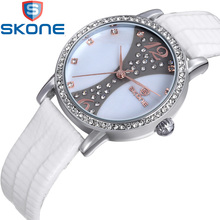 SKONE Fashion Japan's Movement Women's Watches Leather Watchband CZ Crystal Quartz Watch for Women Wristwatches HE9288