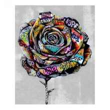 5d diamond bead painting kits  stitch rose flower with letters wall embroidery art hobby decor ASF676