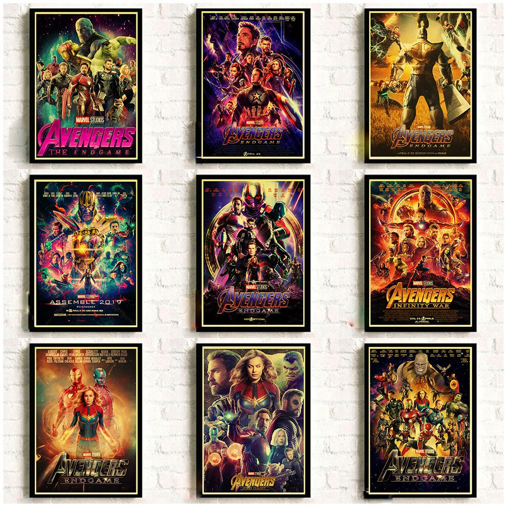2019 New Marvel Movie Avengers Endgame Poster Kraft Paper Super Hero Retro Poster and Prints Cafe Room Wall Sticker Art Painting