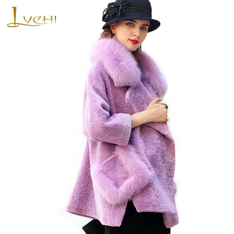LVCHI červené módní tělové vlněné kožichy 2019 zimní tlusté teplé srst s límcem Fox Fur Celé dámské vlněné límce plus velikosti