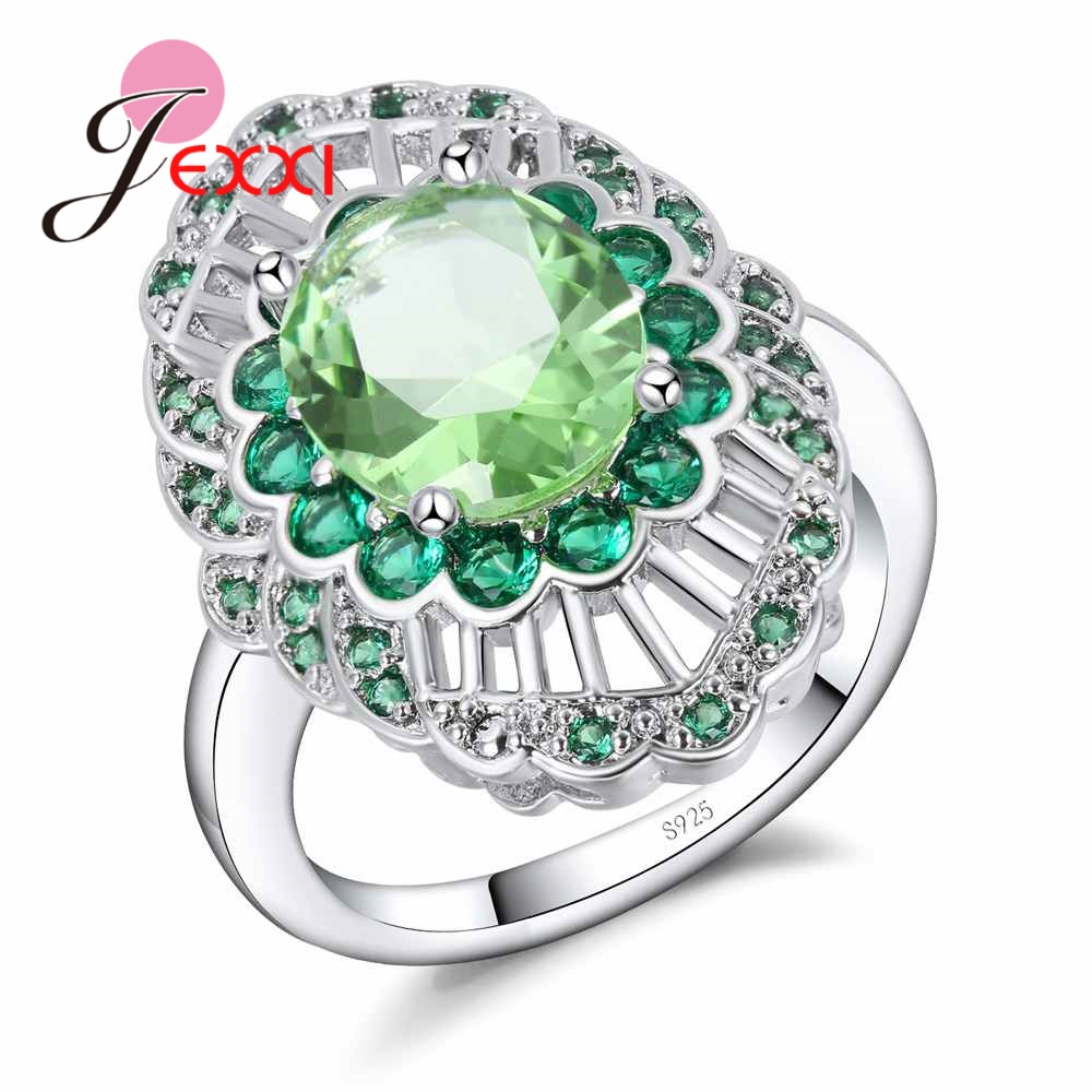 100% Genuine 925 Silver with AAA Zircon Rings for Women Girls Green CZ Crystal Antique Hollow Out Jewelry Valentine's Gift