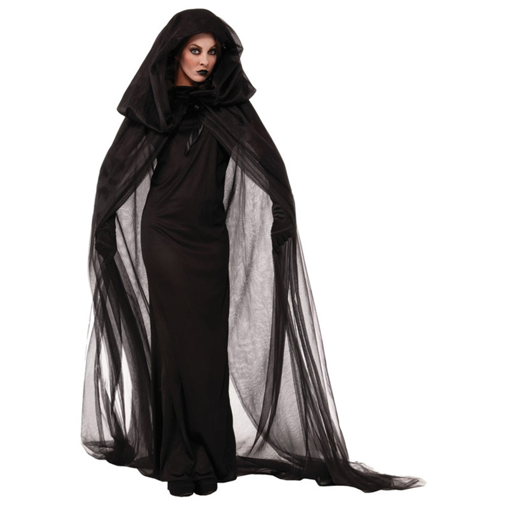 Halloween Purim Carnival Black Gothic Witch Costume Costumes for Women Adult Adulto Long Dress Cosplay Clothing