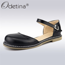 Odetina New Fashion Women D'orsay Flats Buckle Ankle Strap Mary Jane Flat Shoes Round Toe Sweet Shoes Ballet Flats Big Size 43 цены онлайн