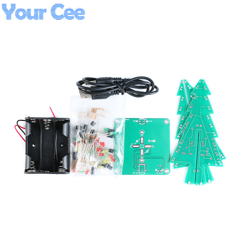 three-dimensional 3d christmas tree led diy kit red green yellow led flash  circuit kit