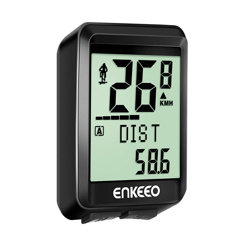 Enkeeo BKV-1527 Wireless Bicycle Computer Stopwatch with Bike Speedometer Trip Time Distance Recording Odometer for Cycling