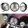 5.75 inch LED Harley Projection Headlight & Pair 4.5 inch Harley LED Fog Light