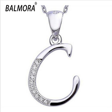 Wholesale Letter C 100% Actual 925 Sterling Silver Jewellery Pendants for Girls Males Equipment Trend Pendant Matches for Necklace
