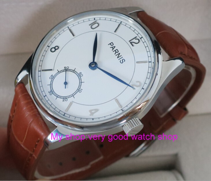 44mm PARNIS White dial Asian 6498 Mechanical Hand Wind movement men's watch Mechanical watches RNM07 44mm parnis white dial asian 6498 3621 mechanical hand wind movement men s watch mechanical watches rnm9