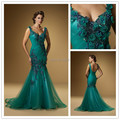 Querida abrir voltar Mermaid Vestido com pérolas frisado apliques de longo cabido Prom Vestido sereia