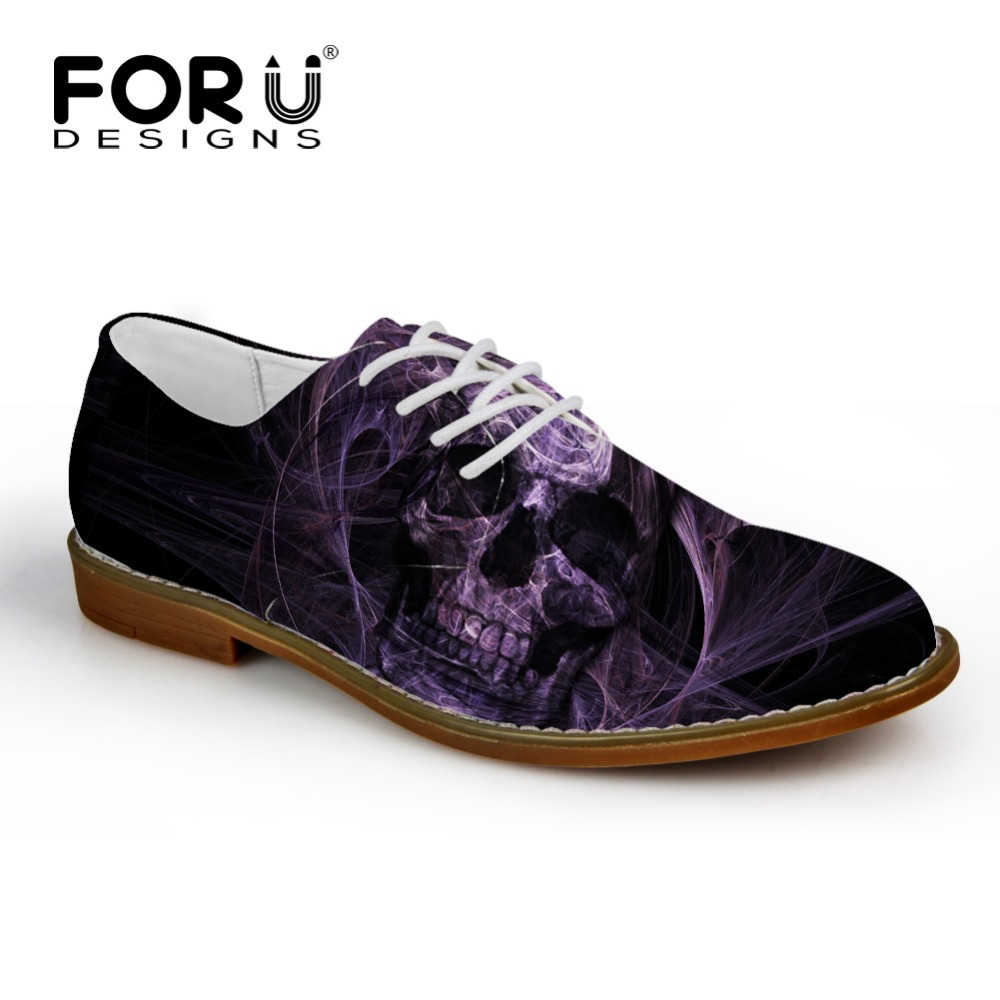 FORUDESIGNS New Fashion Casual Leather Men Shoes Cool Punk Skull Business Oxfords Flats High Qualitu Male Lace up Leisure Shoes