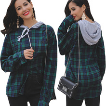 European Style Spring Explosion Women's Contrast Plaid Chest Pocket Top Personality Hooded Drawstring Shirt Sweatshirt men contrast tape hooded top with shorts
