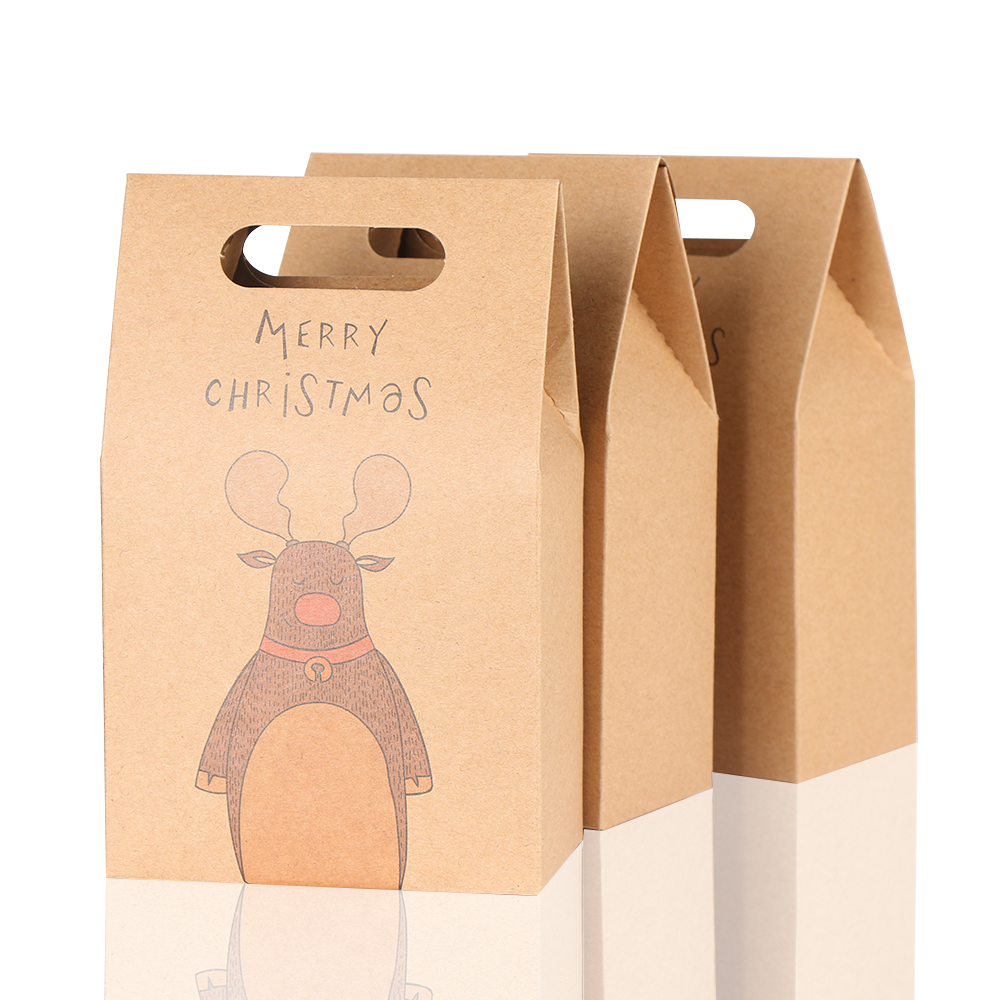 1Pcs Kraft Paper Xmas Party Cookies Candy Present Gift Bag Luxury Wedding Bag Christmas Candy Box Christmas Party Accessories 3