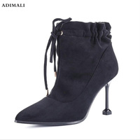 Для женщин в стиле панк рок ботильоны с шипами Байкер Lita платформы коренастый блок на очень высоком каблуке; Bota; высокие Size35 39
