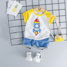 Summer Short Sleeve Cartoon Baby Boy Clothes T-shirt+Knee Length Pants 2pcs Newborn Set Brand Toddler Kids Casual Sports Outfit стоимость