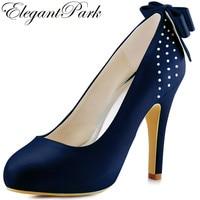 Для женщин высокое Высокая платформа Насосы закрытым Стразы невесты атласные леди выпускного вечера вечерние Свадебная обувь Темно-синие ...