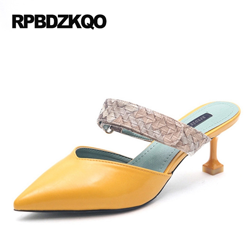 Small Size Yellow Women Fashion 2017 Summer Shoes Mules Slipper Snake Snakeskin Pumps Casual Pointed Toe High Heels 4 34 Thin new 2017 spring summer women shoes pointed toe high quality brand fashion womens flats ladies plus size 41 sweet flock t179