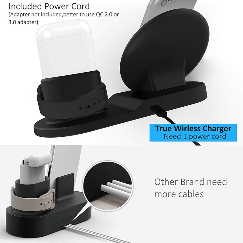 Image 5 - Tongdaytech 10W Qi Wireless Charger For Iphone X XS XR 8 Plus 11 Pro Max 3 IN 1 Fast Chargeur Quick Charge For Apple Watch Airpods 4 3 2 1 Cargador Inalambrico-in Mobile Phone Chargers from Cellphones & Telecommunications