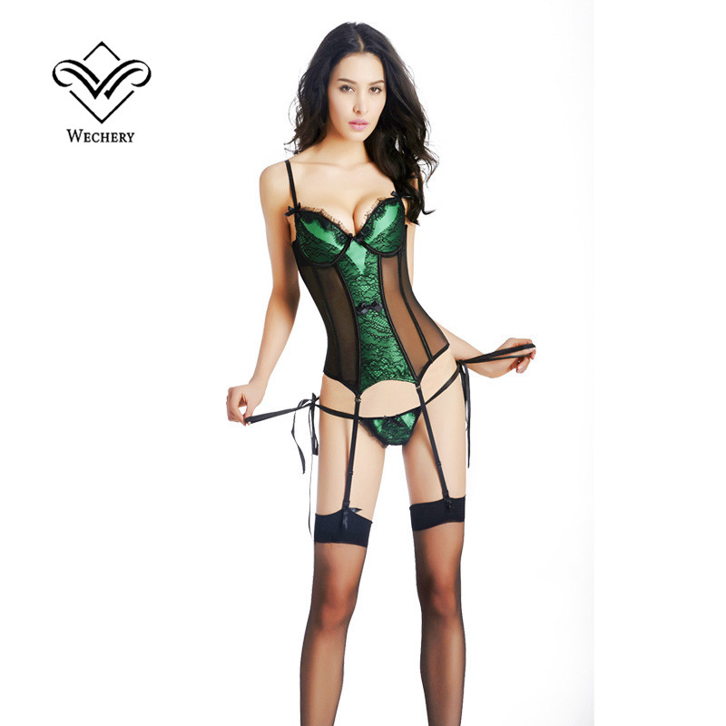 Image 2 - Wechery Steampunk Corset Sexy Gothic Push Up Bustiers Slimming Waist Trainer Overbust Korset Hollow Out Sexy Leagerie Party Tops-in Bustiers & Corsets from Underwear & Sleepwears
