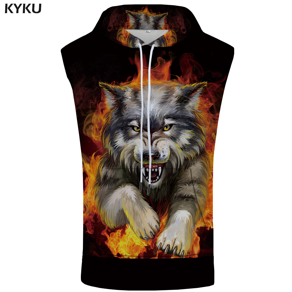 KYKU Wolf Sleeveless Hoodie Flame Singlets Rock Coat Punk Sweatshirt Summer Bodybuilding Mens Clothing New Anime Fashion in Tank Tops from Men 39 s Clothing