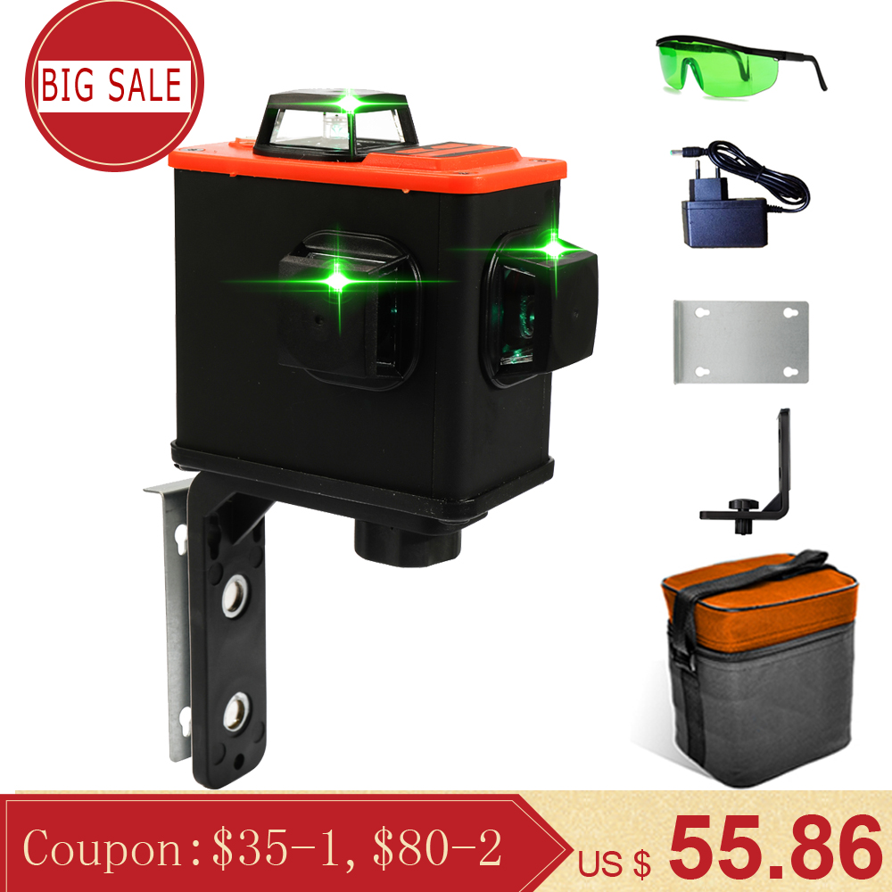 Multifunctional DIY 12 Green Lines 3D Laser Level Meter Wall Meter Laser Levels Projector High Accuracy