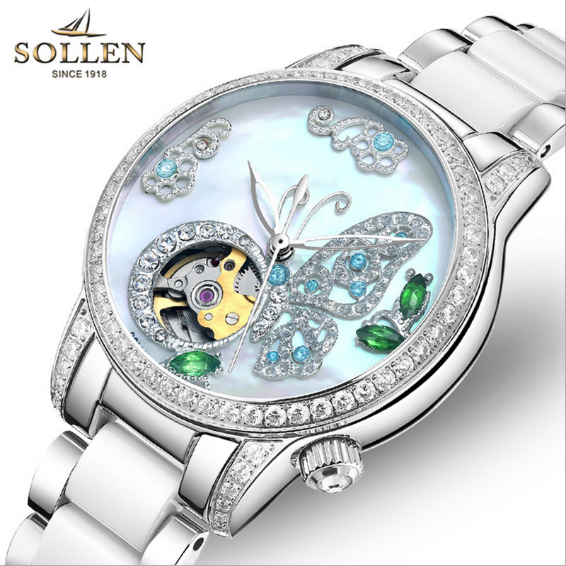 Women Luxury Rhinestone Butterfly Watches Automatic Self-winding Watch High-tech Ceramic Bracelet Wristwatch Shell Montres Femme