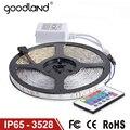 Goodland rgb llevó la tira ligera impermeable ip65 5 metro smd3528 dc12v lámpara ligera flexible con control remoto ir controller lampada led
