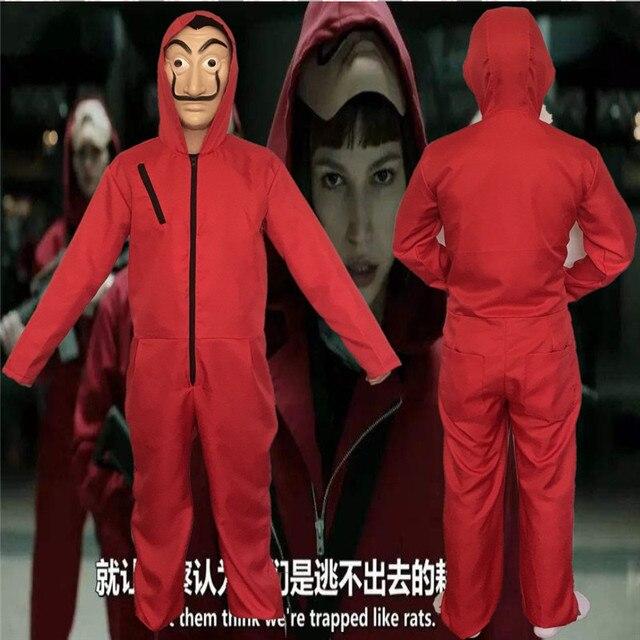56b145691c1 La Casa De Papel Salvador Dalí traje abrigo rojo con capucha mono enterizo  chaqueta Cosplay Casual