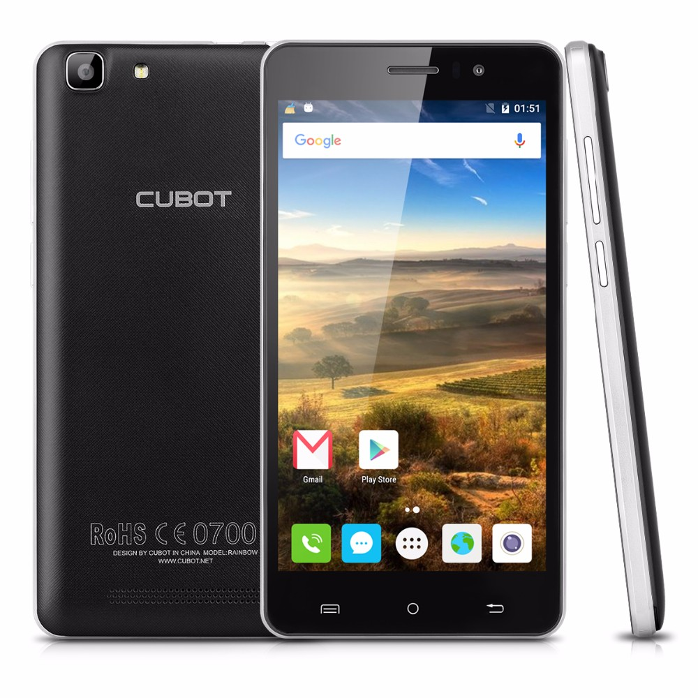 2016 New Original CUBOT RAINBOW 1280 720 5 0 Smartphone Android6 0 MT6580 Quad Core 1