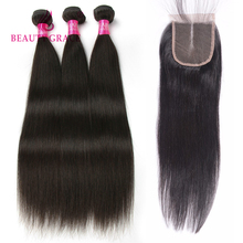 Beauty Grace Hair Brazilian Straight Hair Bundles 3pcs Natural Color Non-Remy 100% Human Hair Bundles With Closure