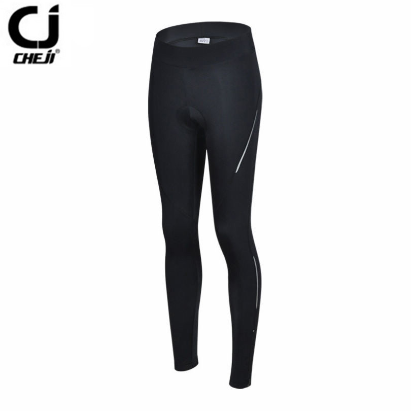 7646c06ad Hot CHEJI Women Pro Bike pants Black Sports MTB Cycling Gel 3D Padded Pants  Tight Size Bicycle long clothing Cycling wear