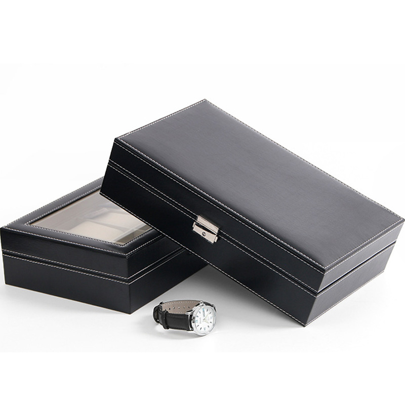 Top Sale 10 Grids Luxury Jewelry Display Watch Case Black PU Leather Watch Boxes Storage Organizer Box standard 10 grids watch box black leather watch display box top quanlity storage watch boxes storage jewelry packing box d208