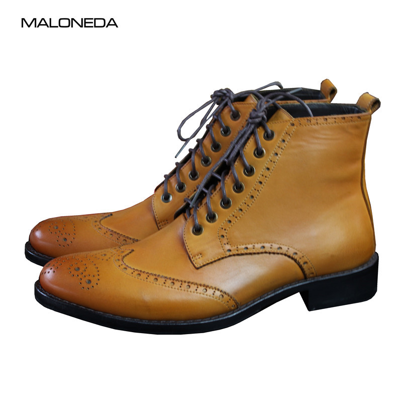 MALONEDA Custom Made Brogue or Wingtip Goodyear Craft Boots Man Handmade Classic Genuine Leather Oxford Shoes Yellow Orange