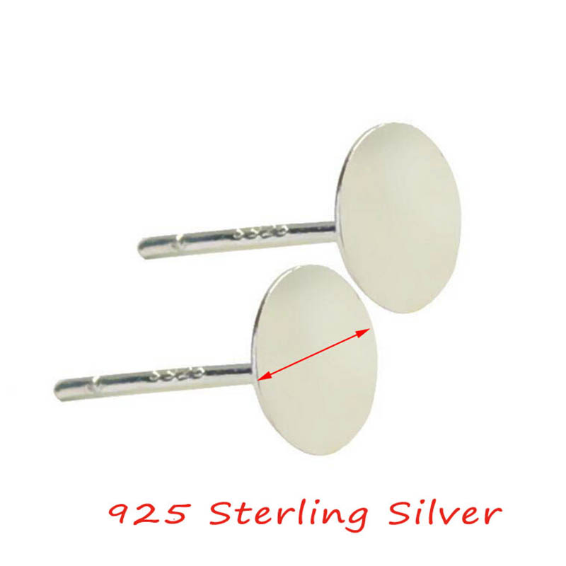 20pcs/bag 925 Sterling Silver Earrings Settings 3/4/5/6mm Blank Round Base Cabochon Stud Ear Flat Base Posts Pure Silver Earring