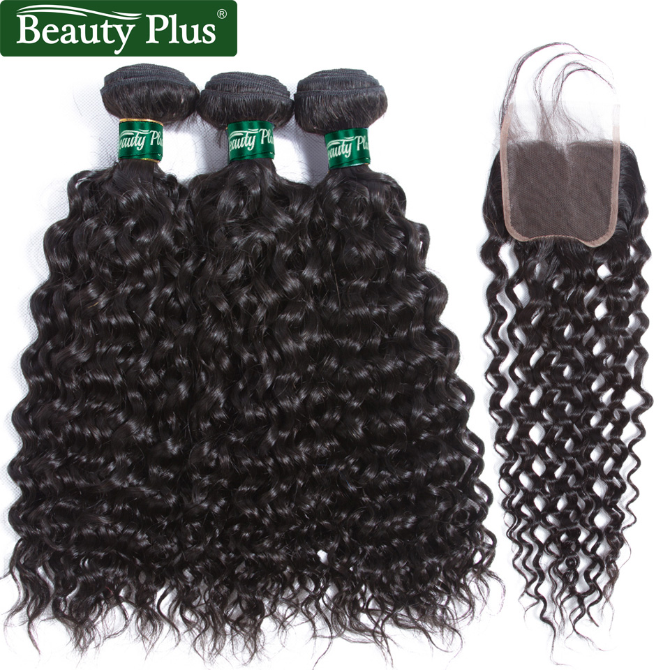 Water Wave Hair With Closure Burmese Natural Water Wave Bundles With Closure Beauty Plus Remy Human