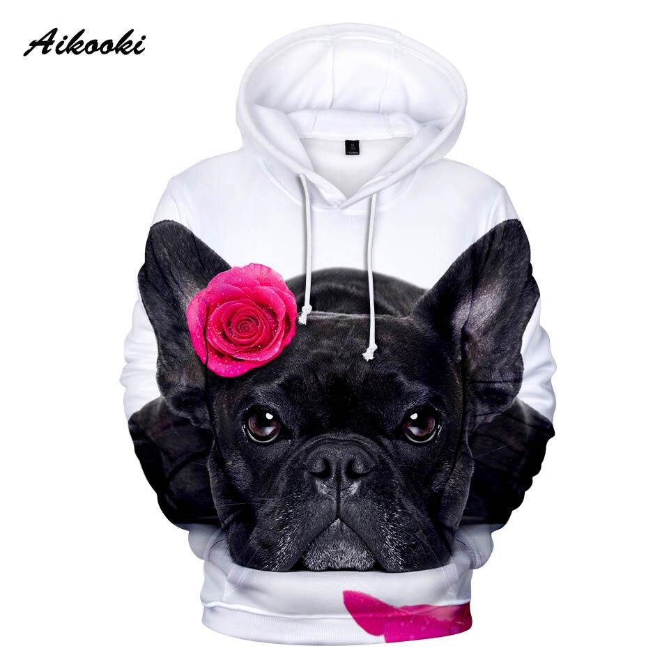 Aikooki Französisch Bulldog Hoodies Männer/frauen Mode Herren Hoodie 3d Nette Französisch Bulldog Rose Design Junge/mädchen Sweatshirts Mit Kapuze