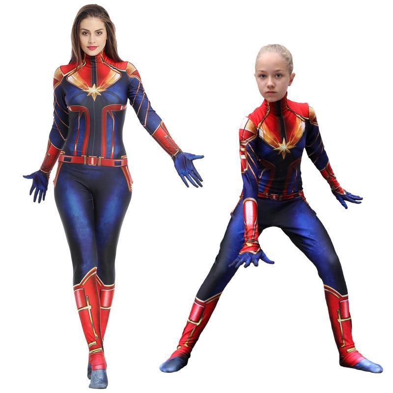 3D Printed Women Girls Movie Captain Marvel Carol Danvers Cosplay Costume Zentai The Avengers 4 Superhero Bodysuit Suit Jumpsuit