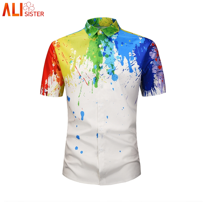 Hemden UnabhäNgig Mode Ölgemälde Shirts Mens 3d Print Lässige Hawaiian Shirt Sommer Kurzarm Streetwear Männlichen Shirts Camisetas Hombre Einfach Und Leicht Zu Handhaben Herrenbekleidung & Zubehör