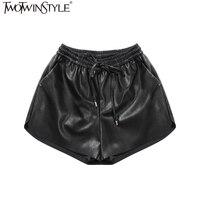 TWOTWINSTYLE PU Ealstic Waist Lace Up Shorts Women Loose Wide Leg Short Pants Black Big Size