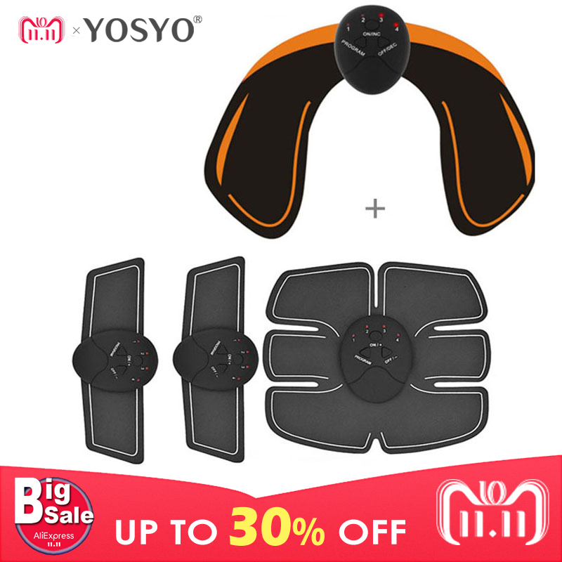 все цены на YOSYO 6 PACK EMS Smart Muscle Stimulator Abdominal Trainer Pad + EMS Hip Trainer Buttocks Butt Lifting Slimming Massager Unisex