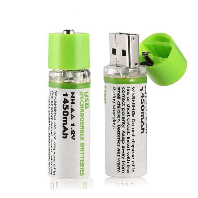 1Pcs AA סוללה Nimh AA 1.2V 1450MAH סוללה נטענת NI MH USB AA 1450MAH