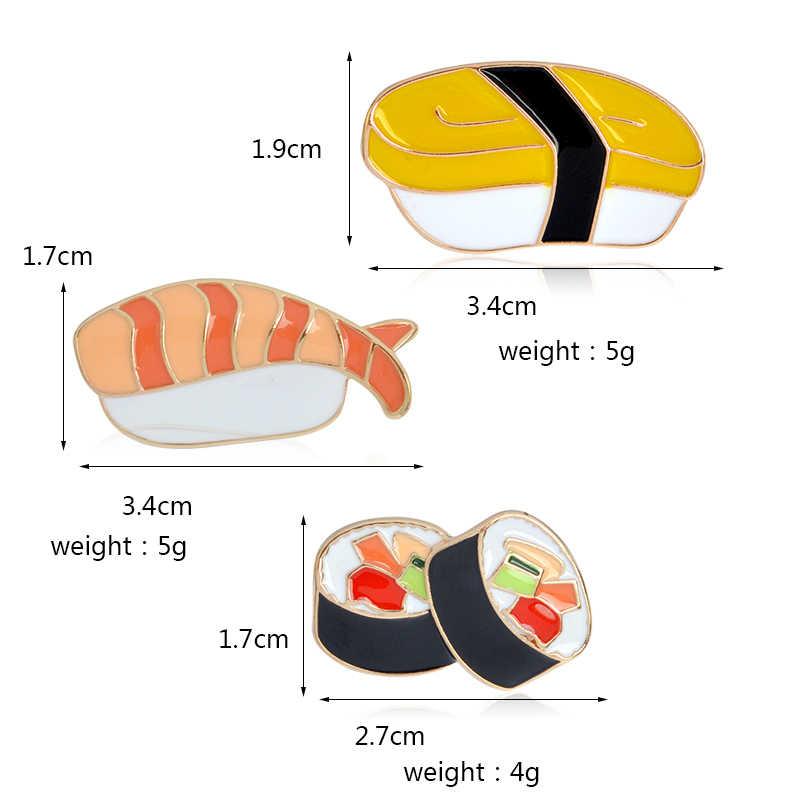 Kartun Makanan Lezat Logam Enamel Pin Sushi Rumput Laut Sashimi Bento Lucu Kreatif Ransel Perhiasan Kemeja Lencana Bros Hadiah