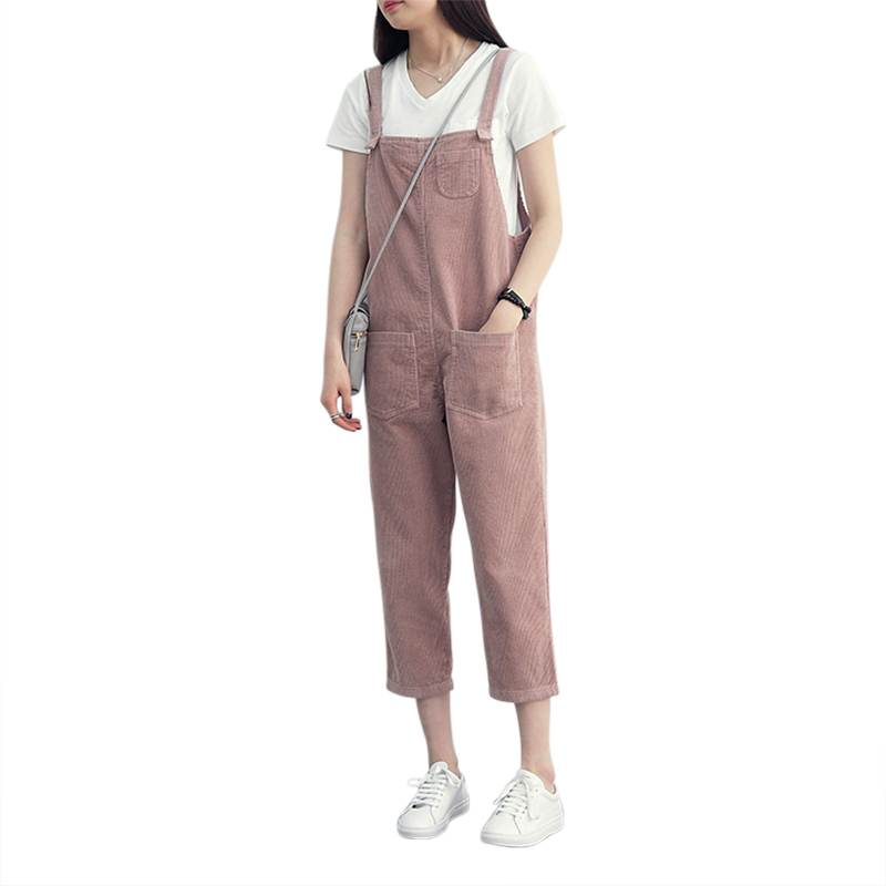 Harajuku Loose Women   Jumpsuit   Corduroy Overall Spring Autumn Solid Strap Pockets romper cute Straight   Jumpsuit   Ankle-Length pant