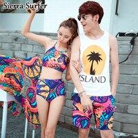 Tankini With Shorts Swimwear Floral Split Swimwear Women Tankini Girl Underwire S6345 Couple Polyester 2018 Swimdress Women