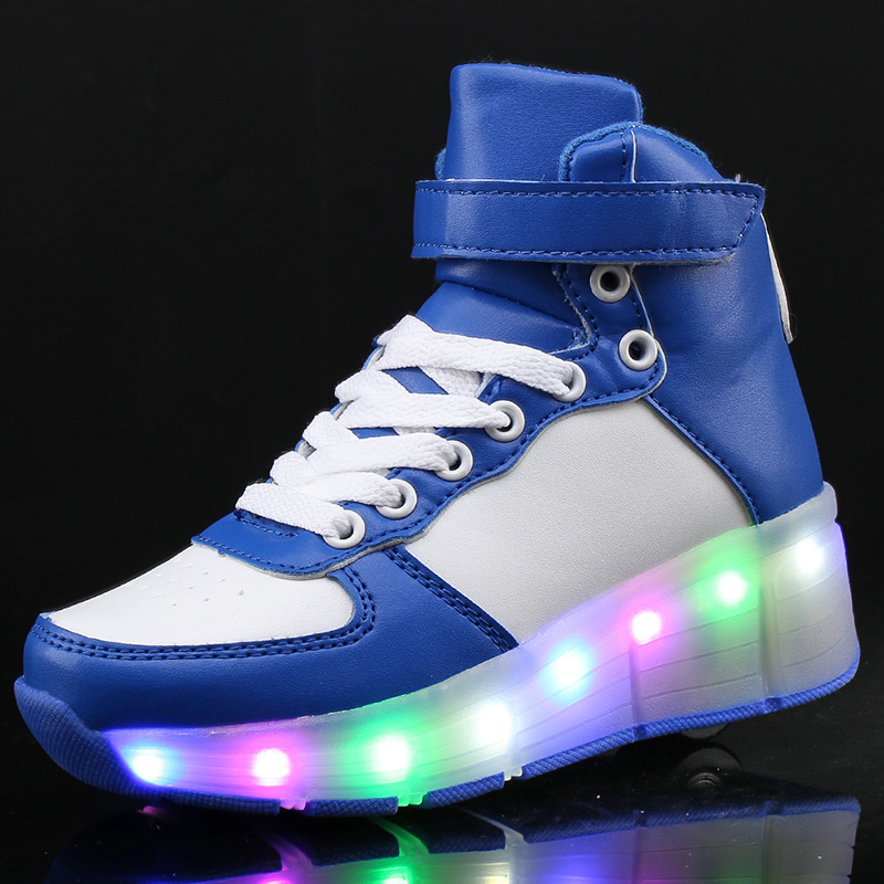 2017 New Kids Boys Girls USB Charging Led Light Shoes With One Wheel High Top Luminous Sneakers Casual Shoes Sports for children 2017new children led light shoes with one two wheels kids pu leather high help roller skate shoes boys girls sneakers shoes