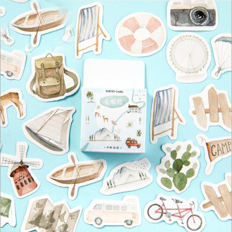 Go Travel Creative Cute Retro Girl Sticker Album Diary Calendar Scrapbook Sticker Student Stationery Office Supplies 46pcs/box Go Travel Creative Cute Retro Girl Sticker Album Diary Calendar Scrapbook Sticker Student Stationery Office Supplies 46pcs/box